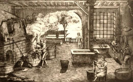 Litho: vier Männer und eine Frau bei verschiedenen Arbeitsschritten des Färbens