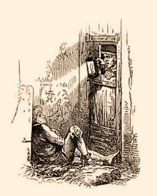 Holzstich: Kerkermeister leuchtet mit einer Laterne durch eine Luke in der Kerkertür zu einem Gefangenen hin, der auf Stroh am Boden sitzt