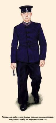 Farbdruck: russischer Gefängniswärter in blauer Uniform mit Schlüsselbund in der Hand