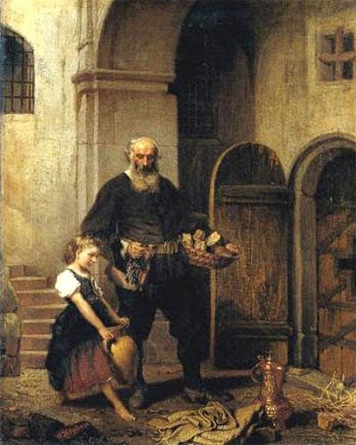 Gemälde: Gefängniswärter mit Brotkorb und junges Mädchen mit großem zweihenkligem Wasserkrug vor einer Zellentür