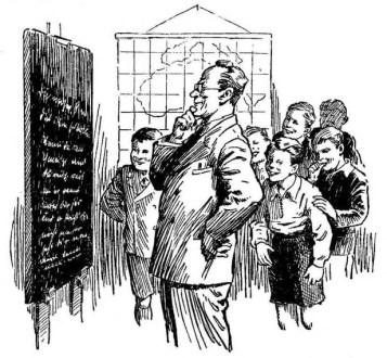 alte s/w-Buchillustration: Lehrer steht mit Schülern grübelnd vor einer beschriebenen Tafel