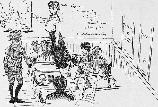 sw-illu: Lehrerin zeigt den sitzenden Schülern etwas an einer Karte oder fragt einen Schüler ab