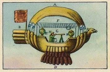 altes Sammelbild: fantasievolles Luftschiff