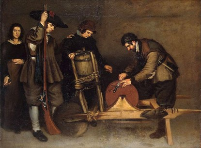 Gemälde: Der Schleifer schärft einen Dolch, links stehen Leute die zusehen und Gegenstände zum Schärfen bei sich tragen