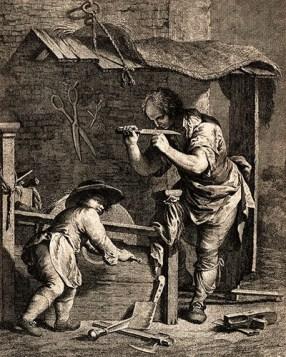 Kupferstich: Schleifer prüft die Schärfe eines Messers, Junge dreht dabei Schleifstein mittels Handkurbel