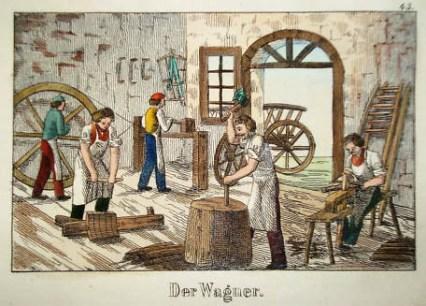 fünf Stellmacher bei der Arbeit in der Werkstatt