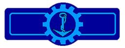 blaues Abzeichen mit Anker im Steuerrad