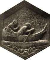 sechseckiges Relief eines Fährmanns auf dem Arno