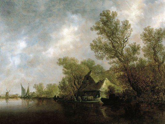 Gemälde: holländische Flusslandschaft mit Fähre und Hütten