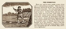 Kupferstich eines Fährmanns plus Text 'Der Fährmann'