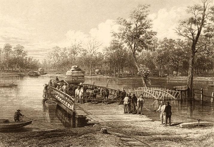 Kupferstich: Fähre, beladen mit Pferdefuhrwerk, Waren und Leuten legt am Ufer an