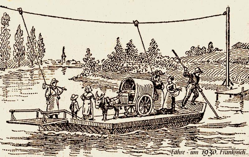Federzeichnung: Fähre an Führungsseil, beladen mit einem Eselskarren und mehreren Menschen und Fährmann mit langem Staken