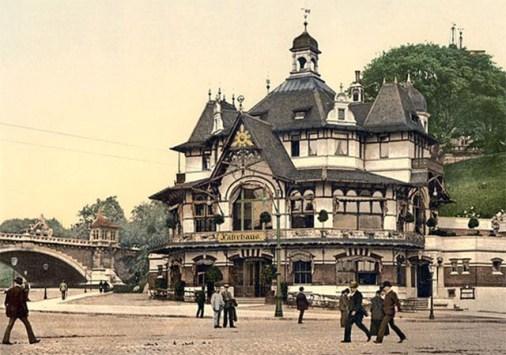 koloriertes s/w Foto vom Hamburger Fährhaus