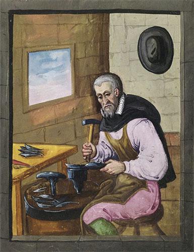 farbige Buchmalerei: Mönch beim Schmieden von Scheren und Messern