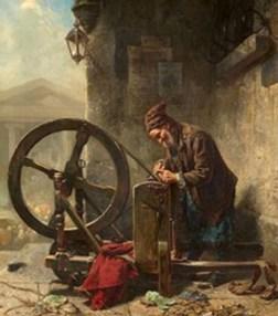 Gemälde: Scherenschleifer arbeitet in einer städtischer Häuserecke unter einem Hausvorsprung