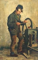 Gemälde: Messerschleifer besieht sich kaputtes Messer