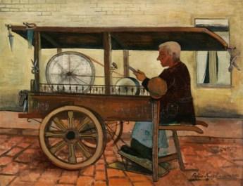Wassermalfarbe: Handwerker mit größerer überdachter Karre