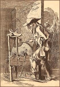 alter Stich: stehend arbeitender Mann in Holzschuhen bewegt die aufgebockte Schleifsteinscheibe mittels Fußpedal, von oben tröpfelt beim Schleifen Wasser aus einem Loch an der Spitze eines Holzschuhs auf den Stein