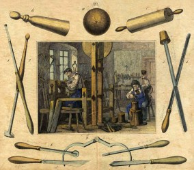 Drechslerwerkstatt und Werkzeuge