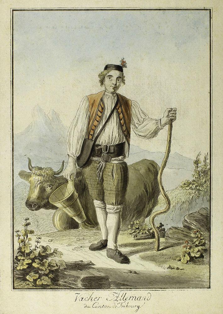 Kuhhirte in traditioneller Kleidung mit Holzgefäß und Kuh