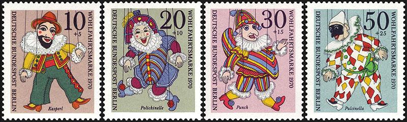 vier Marken mit Abb. von Kasperl, Punch, Polichinelle und Pulcinella
