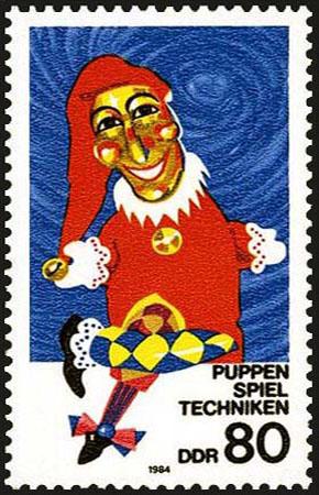Kasperpuppe auf Briefmarke