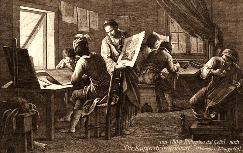 Kupferstich: Blick in eine Kupferstichwerkstatt ~1812