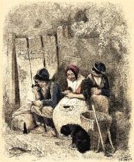 Zeichnung: drei rasten auf Gartenbank und essen eine Kleinigkeit