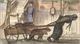 kolorierter Stich: Lumpenweib mit Hundekarren