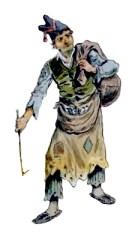 Aquarell: selbst in Lumpen gekleideter Lumpensammler mit Hakenstock