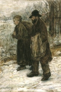 Gemälde: Lumpensammlerpaar im Winter