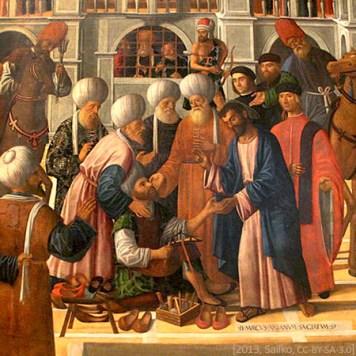 Gemälde: vor mehreren Personen am Boden sitzender Schuhmacher mit Werkzeug und fertigen Schuhen - 1499