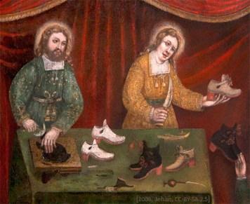 Gemälde: die zwei Heiligen an einem Tisch machen und zeigen Schuhe