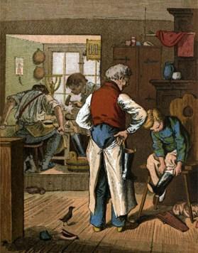 Farblitho: Schuster lässt auf Schemel sitzenden Knaben Stiefel anprobieren,
