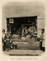 sw Foto: Laden mit großem offenen Verkaufsfenster zur Straße - 1905