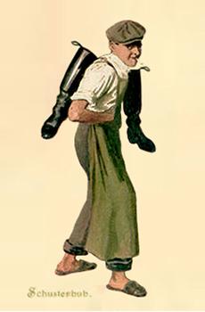 Farbliho: Schusterbub mit schwarzem Stiefelpaar über der Schulter