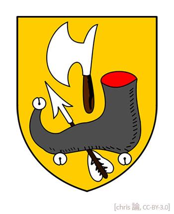 Farbillu: Wappen mit Schuh und Wekzeugen auf gelbem Gund