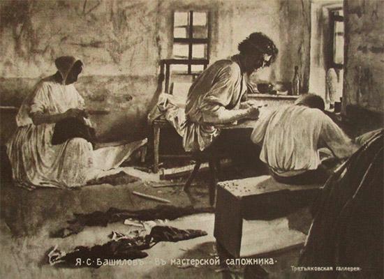 sw Gemäldefoto: Schuhmachermeister unterweist Lehrling, im Hintergrund strickende Frau