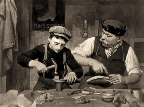 sw Gemäldefoto: Zusammenarbeit. Mann und Junge machen Schuhe