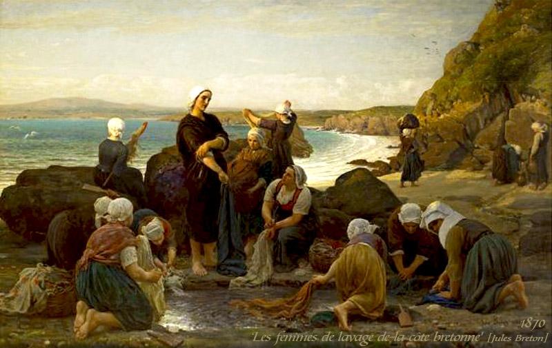 Gemälde: Die Waschfrauen der Bretonische Küste