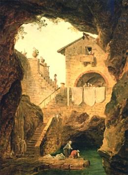 Gemälde: Wäscherinnen am städtischen Grotten-Brunnen