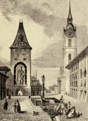 Kupferstich: Wäscherinnen am Kirchhofplatz