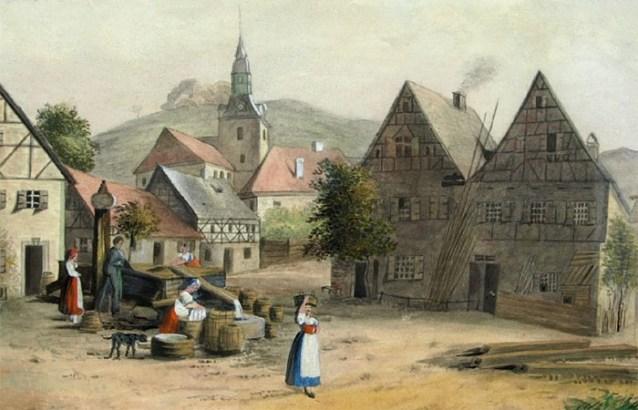 Aquarell: Dorfplatzszene mit Waschfrauen