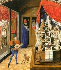 kolorierter Kupferstich: König sieht sich ein Badehaus an - 1470