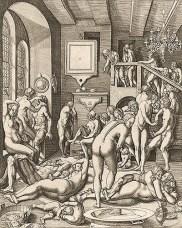 Kupferstich: viele Männer, Frauen und Kinder vergnügen sich im Badehaus - 1550