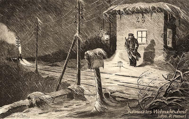 Zeichnung: Bahnwärter wartet bei nächtlichem Schneegestöber vor seinem Häuschen auf herannahenden Zug