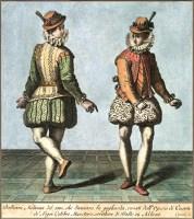 kolorierter Kupferstich: zwei Milanesische Tänzer