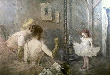 Gemälde: kleines Mädchen im Tutu wird von zwei Ballerinen belehrt - 1891