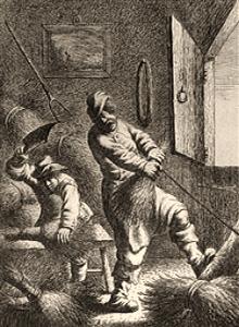 Kupferstich: zwei Männer fertigen in einer Werkstatt Besen an - 1625
