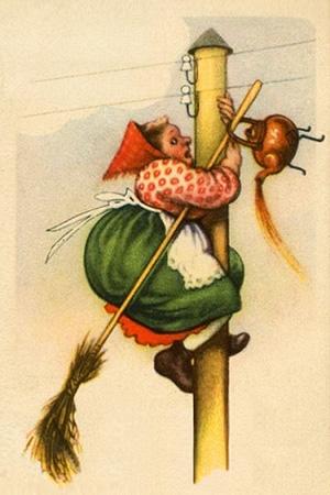 farbige Karikatur: Frau mit Besen oben am Strommast gelandet